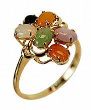 Vintage Hong Kong 14K Gold & Jade Ring