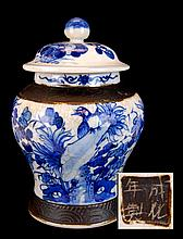 Chinese Blue/White Pigeon Tea Caddy