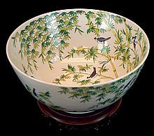 Chinese Porcelain Avian/Bamboo Motif Bowl