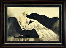 Louis Icart Framed Print, Sofa