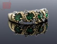 14K Two-Tone Gold Emerald & Diamond Ring