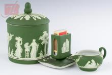 Wedgwood Green Jasperware Ash Tray & Pitcher Trio