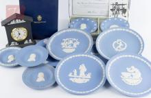 12Pc. Wedgwood Commemorative Dishes & Clock