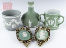 5Pc. Wedgwood Green Plaques, Loving Cup, Decanter