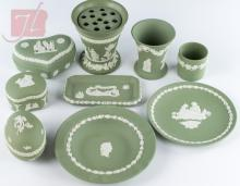 9Pc. Green Wedgwood Jasperware, Vases, Plates, Jar