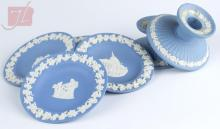 6 Pc. Wedgwood Jasperware Blue Saucer & Candle Lot