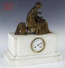19th C. White Marble Greek Revival Figural Clock