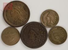 1800s U.S. Liberty,Flying Eagle & Indian Penny Lot