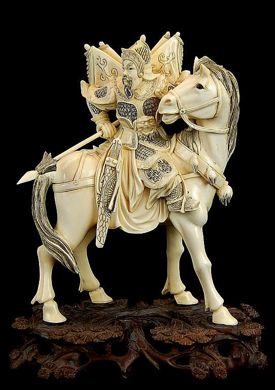 A Fine Chinese Ivory Figure, Warrior on Horse