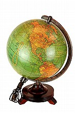 1940's Cram's Light Up Terrestrial Globe