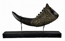 African Carved Horn on Stand