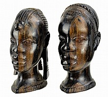 PAIR of African Ebony Wood Busts