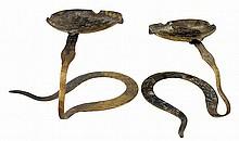 PAIR of Bronze African Hand-Wrought Cobra Ashtrays