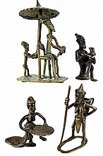(4) Pieces African Gold Weight Bronze Figures