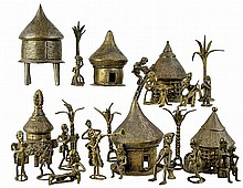 (24) Pc. African Gold Weight Figure Bronze Village
