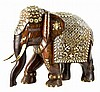 Bone Inlay Solid Mahogany Elephant from India