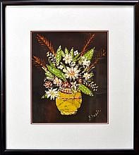 Signed Batik Textile Art, Painted Still Life