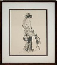 J. Flesner Cowgirl & Saddle Drawing