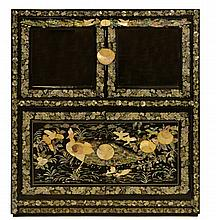 Abalone, MOP & Black Lacquer Inlay Low Cabinet