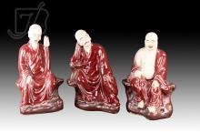 3 Pc. Signed Chinese Porcelain Buddhist Figure Lot