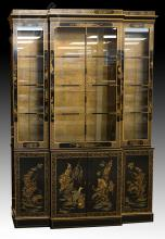 Drexel Heritage Black Lacquer Asian China Cabinet