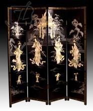Chinese Geisha Black Lacquer Four Panel Screen
