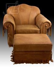 Stitched Leather Southwestern Club Chair & Ottoman