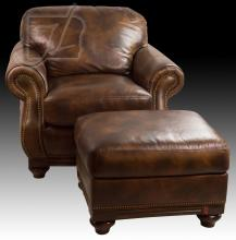 20th C. Brown Leather Chair & Ottoman