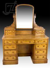 19th C. Tiger Maple Dresser w/ Mirror