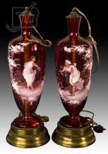 Enamel Cranberry Glass Lamp Pair
