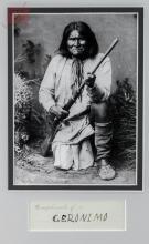 Geronimo Autograph w/ Framed Photograph