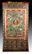 18th C. Life Of Buddha Thangka w/ Silk Cover