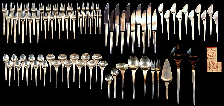 Georg Jensen Sterling Flatware Service - 78 Pc Set