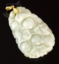 Asian Carved Jade Floral Fruit Necklace Pendant