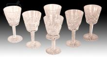 6 Pc. Waterford Ashling Crystal Wine Glass Lot