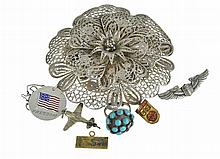 7 Pc. Sterling Silver Ring, Brooch & Necklace Lot