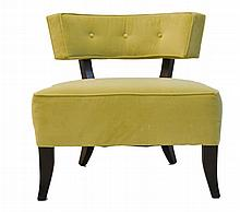 Upholstered Slipper Chair w/ Avocado Color Fabric