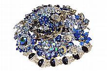 Blue Rhinestone Costume Jewelry Lot