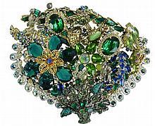 Green Rhinestone Costume Jewelry Lot