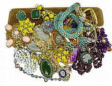 Costume Jewelry w/ Yellow Bracelet & Necklace Set
