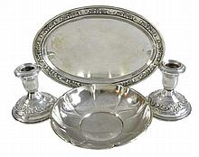 Sterling Silver Bowl, Plate, Candlestick w/ Gorham