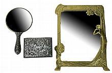 3 Pc. Art Deco Style Brass Mirror & Dresser Box