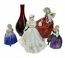5 Pc. Royal Doulton Figure & Vase Lot