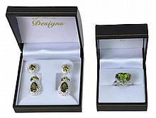 Sterling Silver Green Tourmaline & CZ Jewelry Lot