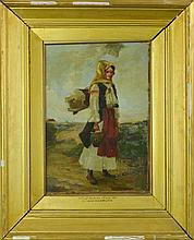 Signed Antique Russian Painting of Serbian Maid