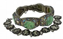 2Pc Silver & Sterling Asian Jade Bracelet Lot