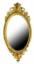 Victorian Gilt Wood Frame Oval Wall Mirror