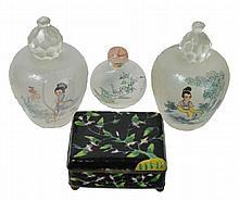 4 Pc. Chinese Cigarette Box, Jar & Snuff Bottle