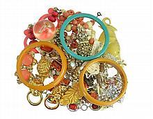 Costume Jewelry Bakelite Bangle & Animal Pin Lot