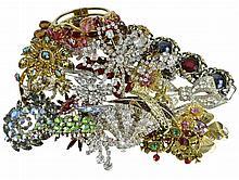 Rhinestone Costume Jewelry Pin & Bracelet Lot